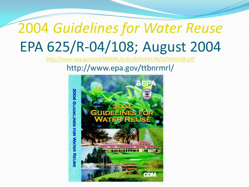 2004 Update Updating the Inventory of State Regulations, Adding State Contacts Expanded Discussion of Potable Reuse Issues Emphasizing Recent Studies and Projects Emerging Pathogens R&D/Issues Emerging Chemical Constituents (NDMAs, Endocrine Disrupters, etc.) Updating USGS Data on National Water and Reuse Practices New Case Studies