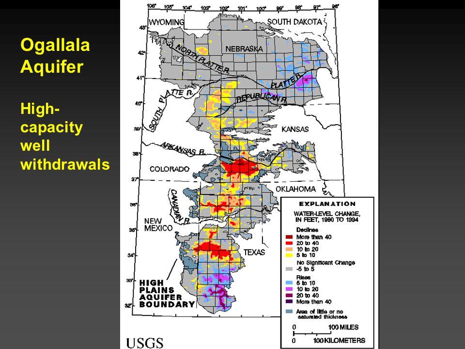 Cunningham - Cunningham - Saigo: Environmental Science 7 th Ed. Ogallala Aquifer High- capacity well withdrawals