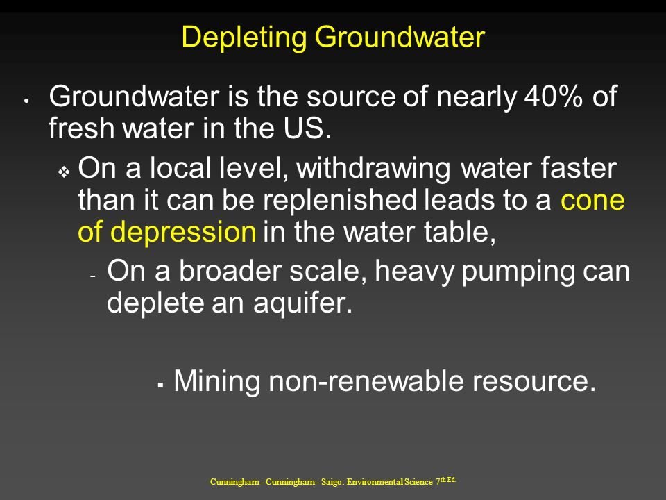 Cunningham - Cunningham - Saigo: Environmental Science 7 th Ed. Depleting Groundwater Groundwater is the source of nearly 40% of fresh water in the US