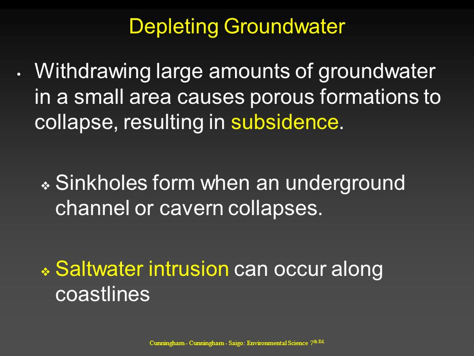 Cunningham - Cunningham - Saigo: Environmental Science 7 th Ed. Depleting Groundwater Withdrawing large amounts of groundwater in a small area causes