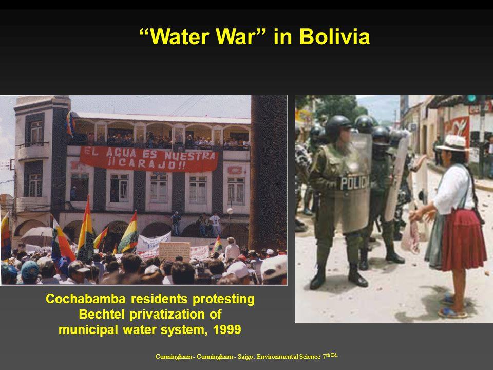 Cunningham - Cunningham - Saigo: Environmental Science 7 th Ed. Water War in Bolivia Cochabamba residents protesting Bechtel privatization of municipa