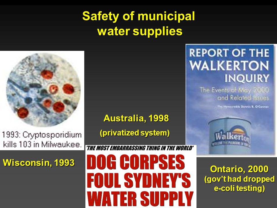 Cunningham - Cunningham - Saigo: Environmental Science 7 th Ed. Safety of municipal water supplies Wisconsin, 1993 Australia, 1998 (privatized system)