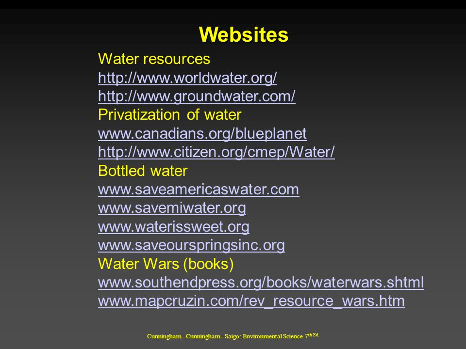 Cunningham - Cunningham - Saigo: Environmental Science 7 th Ed. Websites Water resources http://www.worldwater.org/ http://www.groundwater.com/ Privat