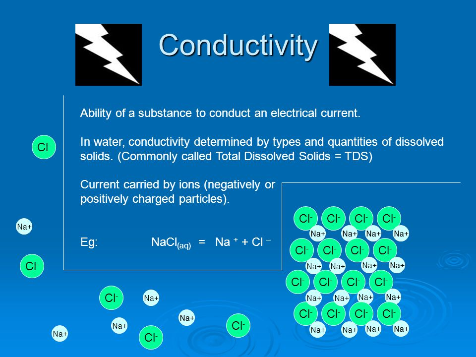 Conductivity Ability of a substance to conduct an electrical current. In water, conductivity determined by types and quantities of dissolved solids. (