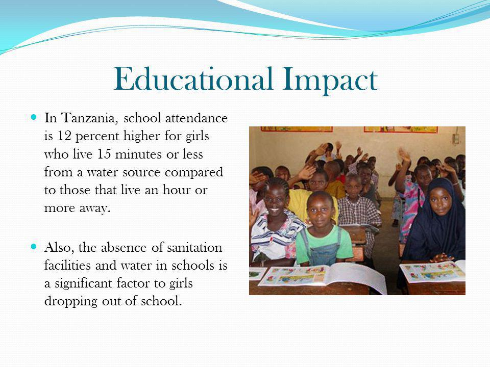 Educational Impact In Tanzania, school attendance is 12 percent higher for girls who live 15 minutes or less from a water source compared to those tha