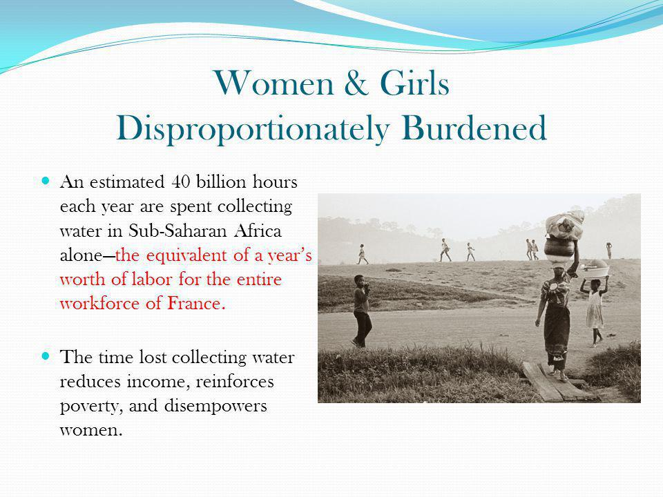 Women & Girls Disproportionately Burdened An estimated 40 billion hours each year are spent collecting water in Sub-Saharan Africa alonethe equivalent