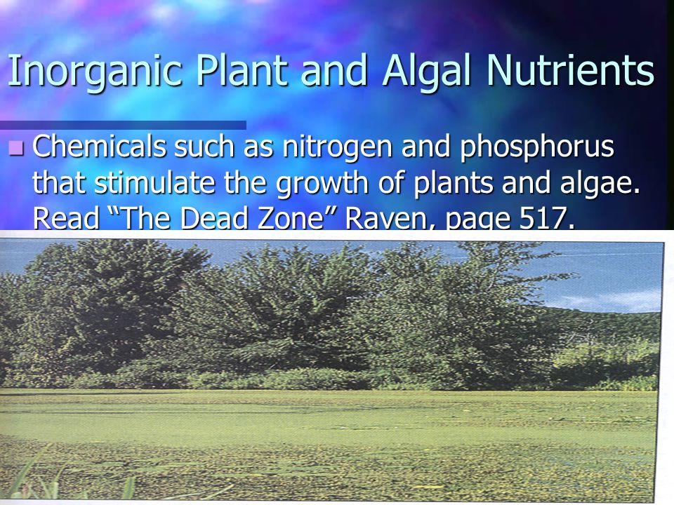Chemicals such as nitrogen and phosphorus that stimulate the growth of plants and algae. Read The Dead Zone Raven, page 517. Chemicals such as nitroge