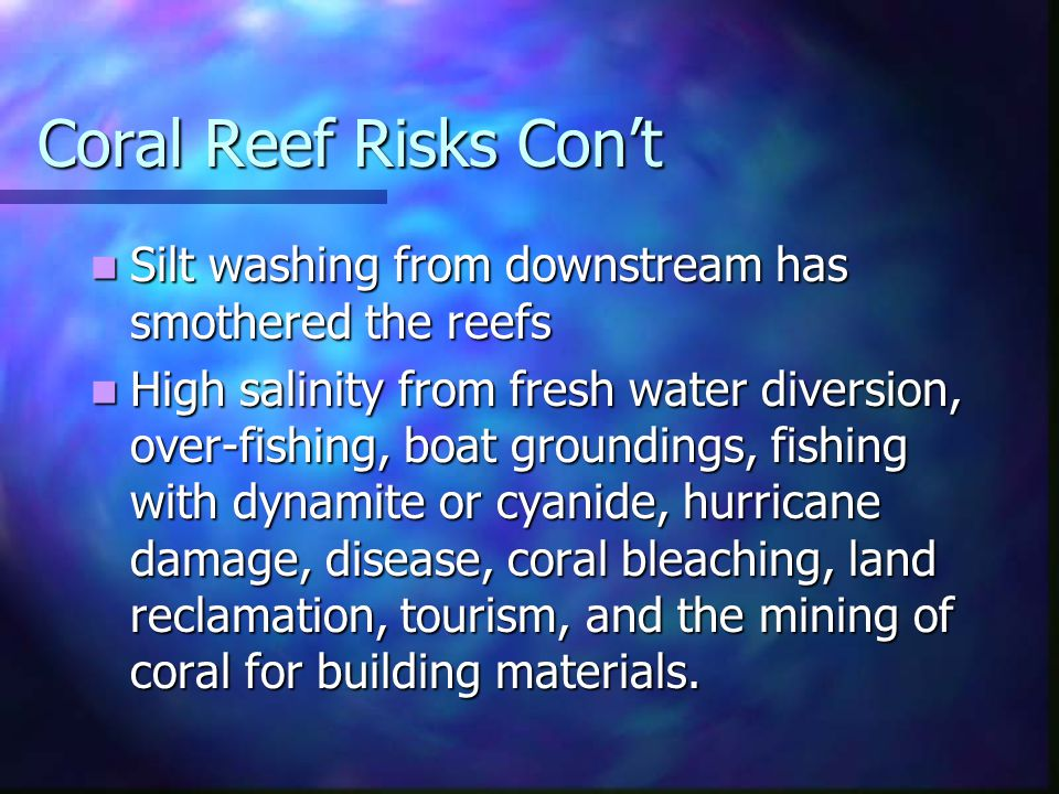 Coral Reef Risks Cont Silt washing from downstream has smothered the reefs Silt washing from downstream has smothered the reefs High salinity from fre