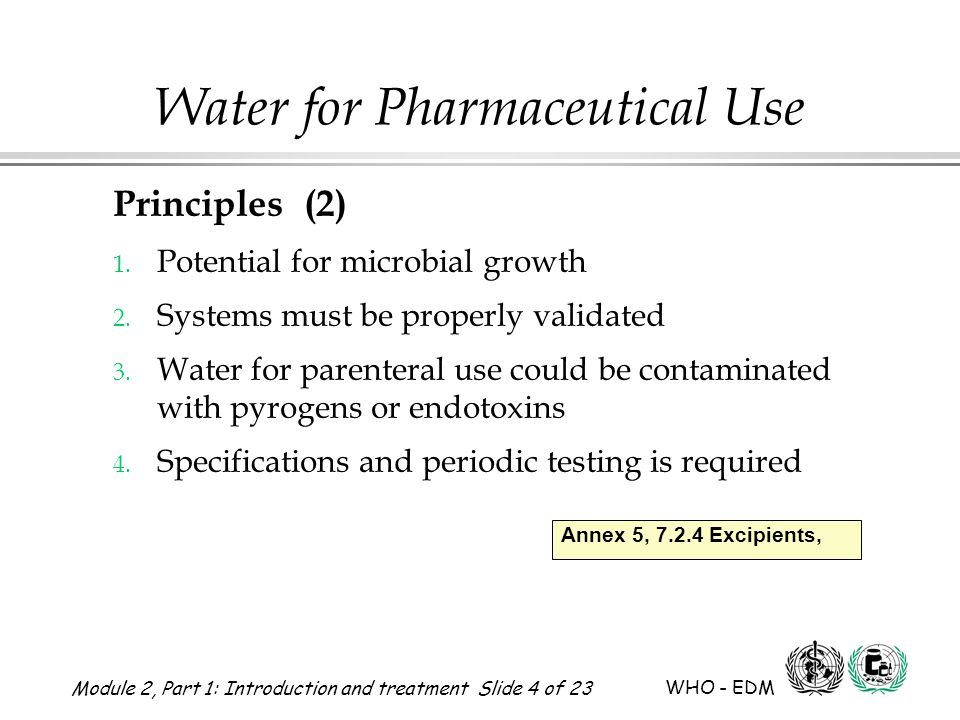 Module 2, Part 1: Introduction and treatment Slide 5 of 23 WHO - EDM Water for Pharmaceutical Use Types of water used in pharmaceutical processes 1.