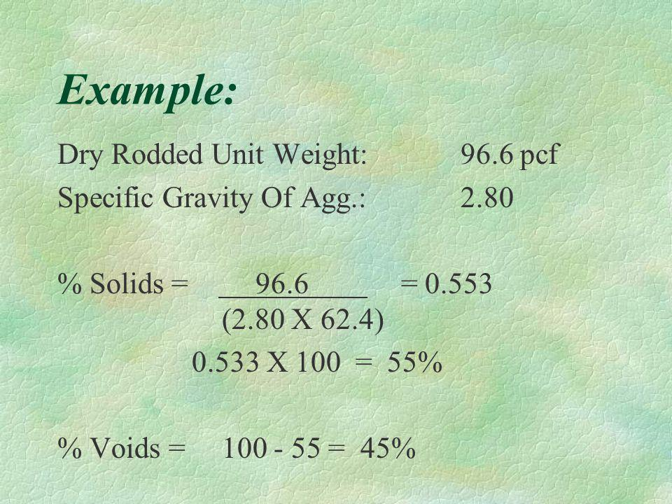Formula : % Solids & Voids % Solids: Dry Rodded Unit Weight (Spec. Gravity) X (62.4) The Answer Is Then Multiplied Times 100 To get % Voids: Subtract