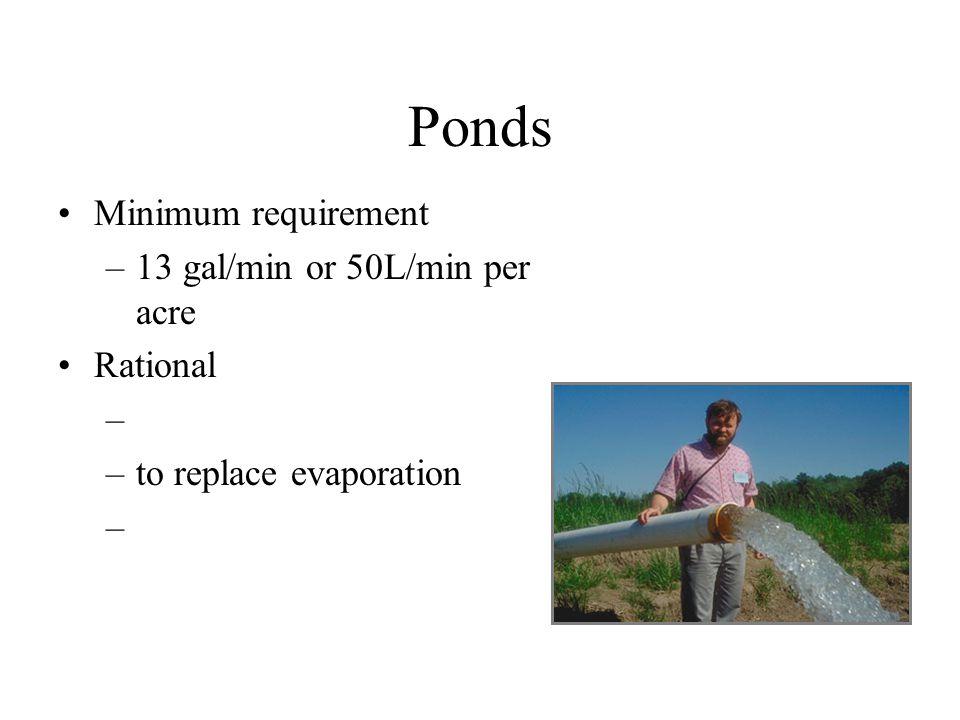 Ponds Minimum requirement –13 gal/min or 50L/min per acre Rational – –to replace evaporation –