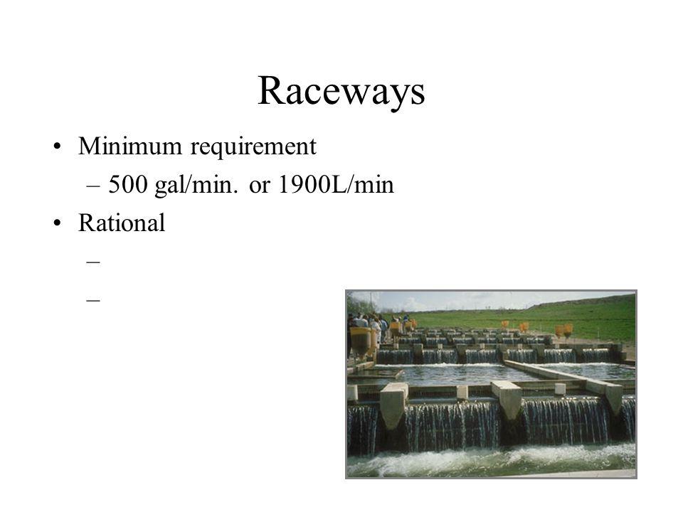 Raceways Minimum requirement –500 gal/min. or 1900L/min Rational –
