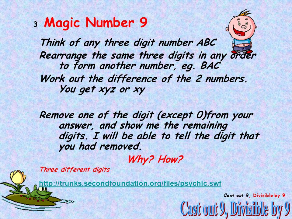 1 Think of any three digit number ABC Rearrange the same three digits in any order to form another number, eg.