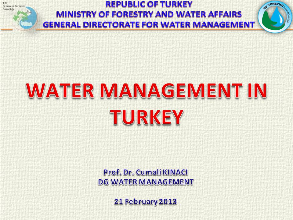 BYLAWS WILL BE PROMULGATED BY THE COORDINATION WITH OTHER INSTITUTIONS Law / By lawStatusRelated EU Legislation Draft By-Law on Monitoring Surface and Ground Water Preparation ongoingWater Framework Directive Draft By-Law on Bathing Water Quality Preparations ongoing under coordination of Ministry of Health Bathing Water Directive Draft By-Law of Water Protection Against Nitrates Pollution From Agriculture Preparations ongoing under coordination of Agricultural Reform DG with support of Water Management DG Nitrates Directive Draft By-Law of Fresh Water Quality in Demand of Protection and Recruitment for Fish Life Sustainability Preparations ongoing with Ministry of Food, Agriculture and Livestock December 2012