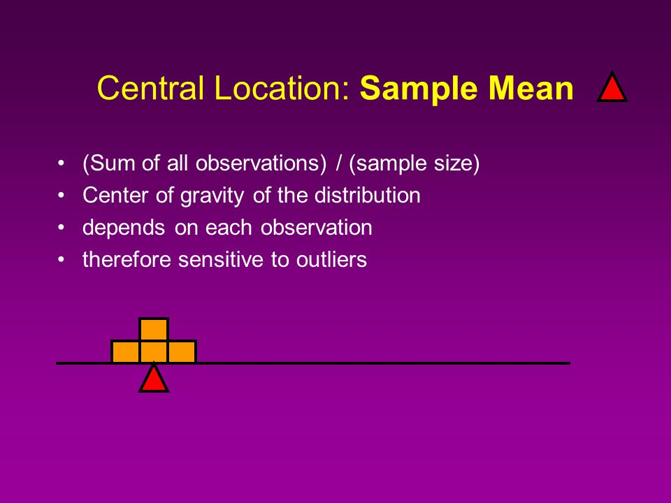 The three most important pieces of information in a sample: Central Location –Mean, Median, Mode Dispersion –Range, Standard Deviation, Inter Quartile Range Shape –Symmetry, skewness, kurtosis