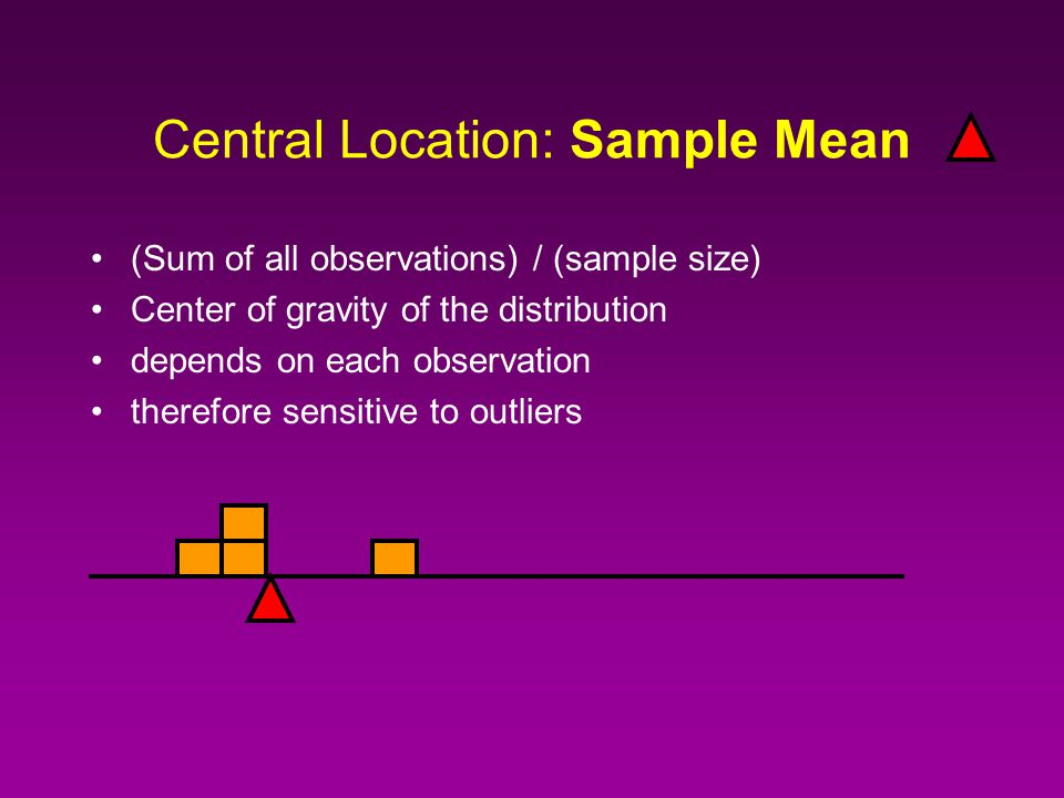 Central Location: Sample Mean (Sum of all observations) / (sample size) Center of gravity of the distribution depends on each observation therefore sensitive to outliers
