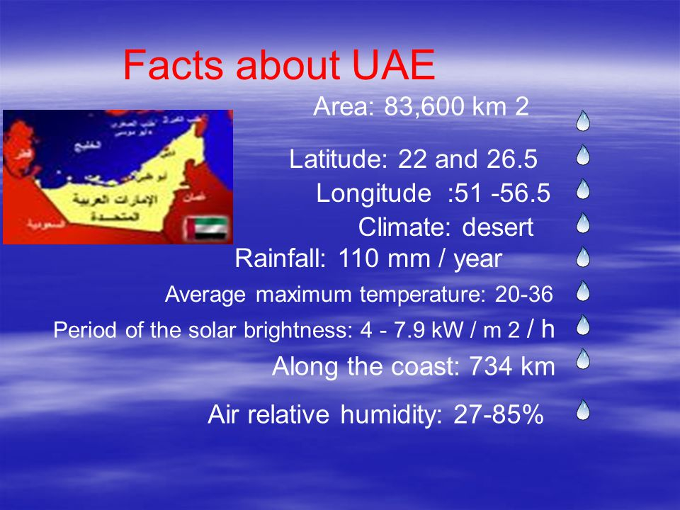 Area: 83,600 km 2 Latitude: 22 and 26.5 Longitude :51 -56.5 Climate: desert Rainfall: 110 mm / year Period of the solar brightness: 4 - 7.9 kW / m 2 /