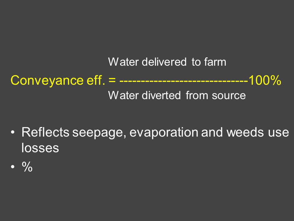 Water delivered to farm Conveyance eff.