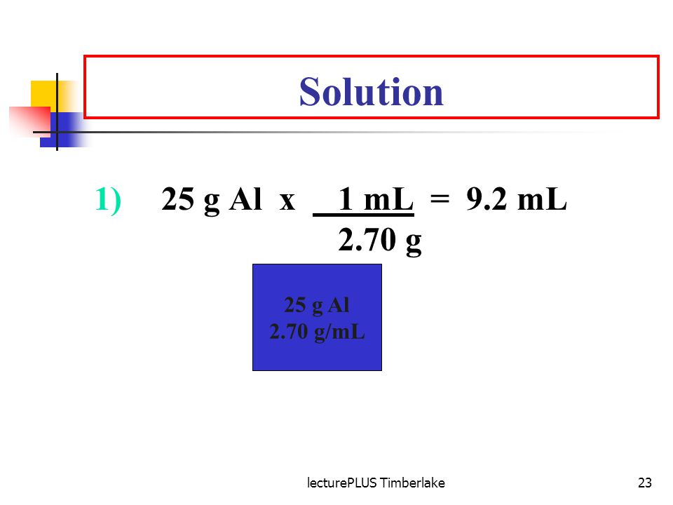 lecturePLUS Timberlake23 Solution 1)25 g Al x 1 mL = 9.2 mL 2.70 g 25 g Al 2.70 g/mL