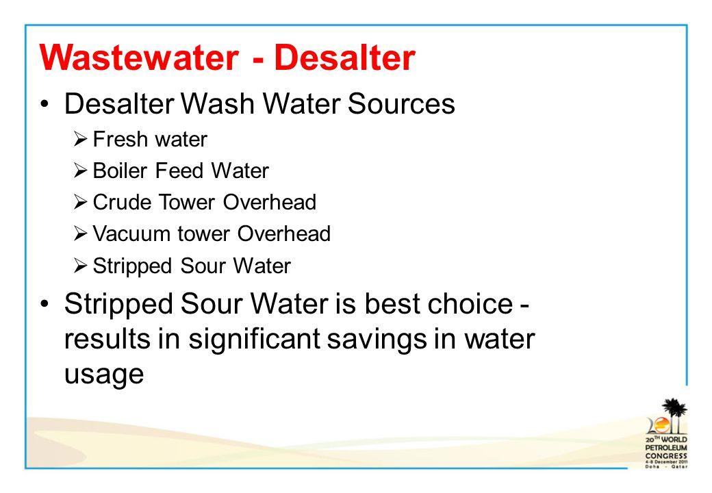 Wastewater - Desalter Desalter Wash Water Sources Fresh water Boiler Feed Water Crude Tower Overhead Vacuum tower Overhead Stripped Sour Water Strippe