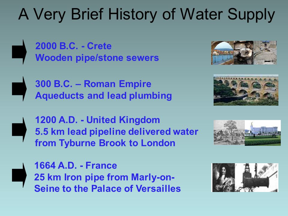 A Very Brief History of Water Supply 1817 - Philadelphia, PA Cast iron pipe 1754 - Bethlehem, PA Bored logs with lead joints 1842-1893 - New York City Croton Water Supply (upland) Tunnels and iron pipe 1913 - Los Angeles Owens Valley Aqueduct Infamous interbasin transfer 1829 – London,England 1st Sand Filter (Chelsea Waterworks)