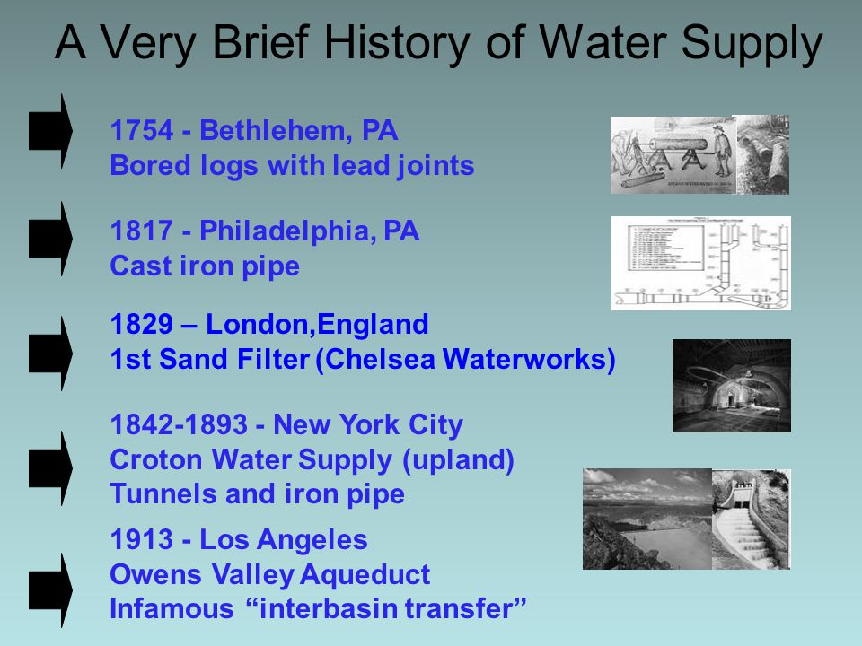 First Pumped Water System 1822 - Citizens petitioned council to build a pumped system utilizing river water Petition specified public ownership Greatest opposition - Water Carters