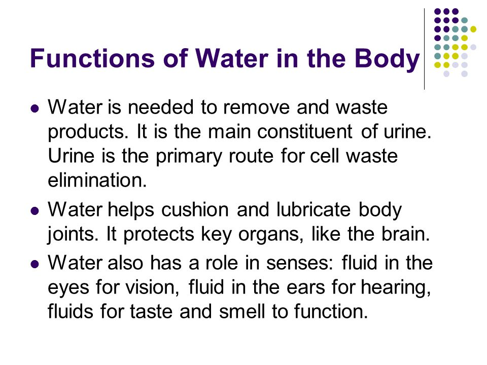 Functions of Water in the Body Depending on the climate where you live, your body requires 6-8 cups of water a day.
