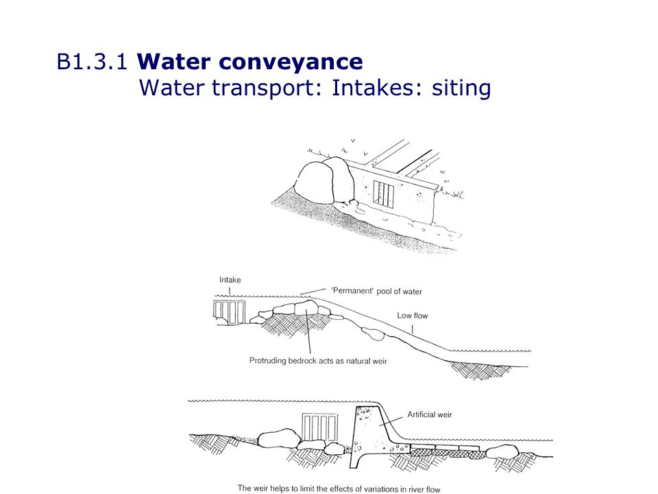B1.3.1 Water conveyance Water transport: Intakes: siting