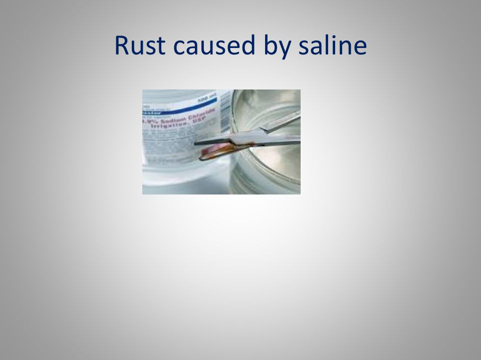 Rust caused by saline