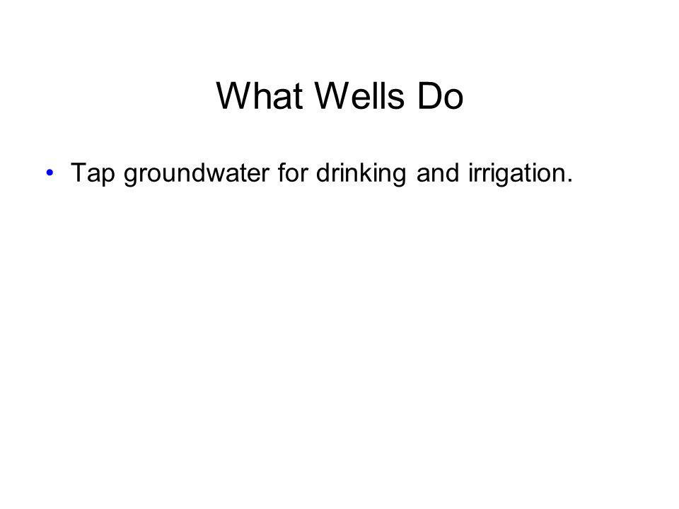 What Wells Do Tap groundwater for drinking and irrigation.