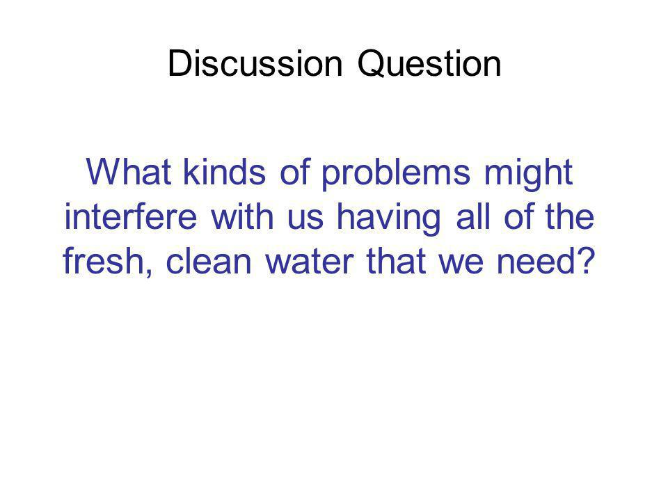 Discussion Question What kinds of problems might interfere with us having all of the fresh, clean water that we need?