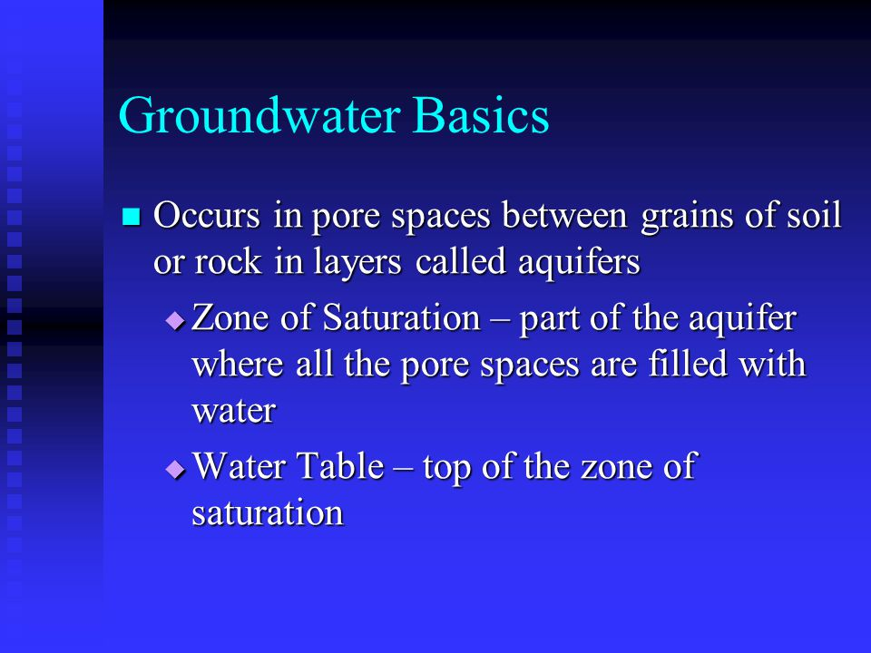 Groundwater Basics Occurs in pore spaces between grains of soil or rock in layers called aquifers Occurs in pore spaces between grains of soil or rock