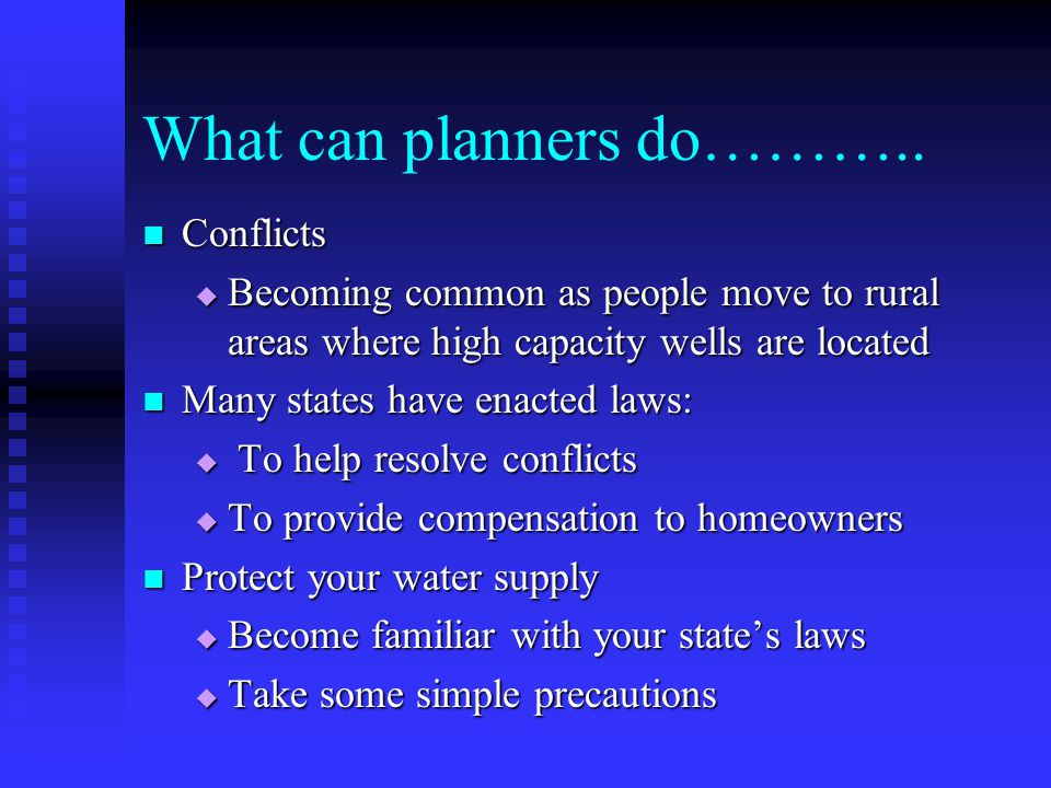 What can planners do………..