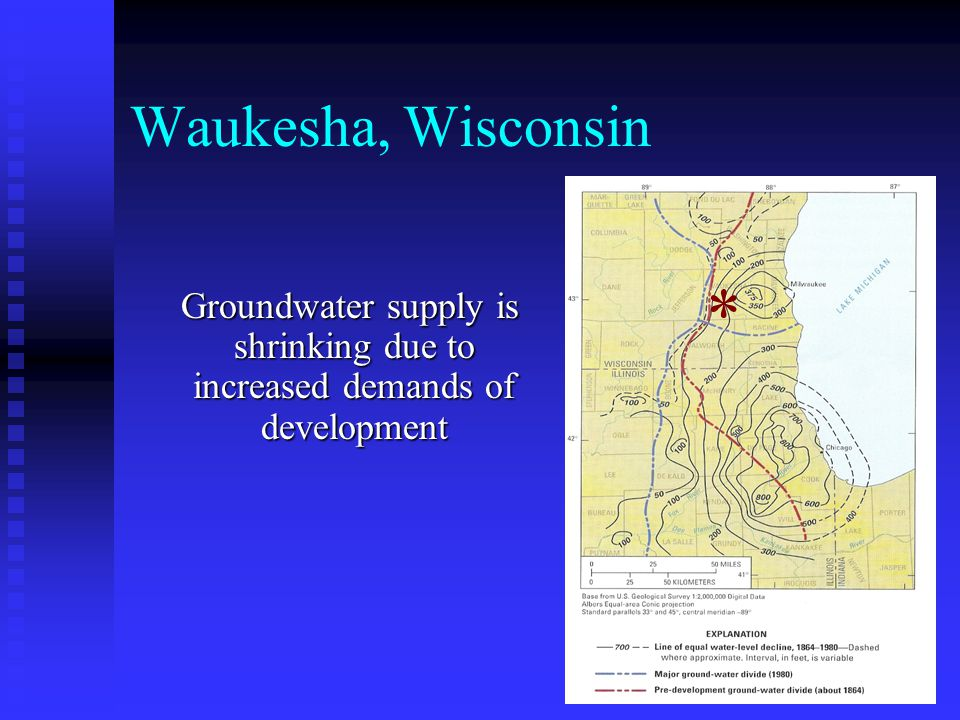 Waukesha, Wisconsin Groundwater supply is shrinking due to increased demands of development Groundwater supply is shrinking due to increased demands o