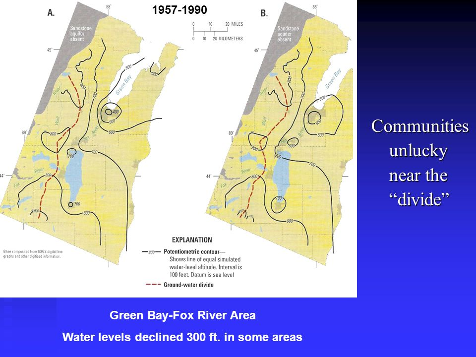 Communities unlucky near the divide Green Bay-Fox River Area Water levels declined 300 ft.