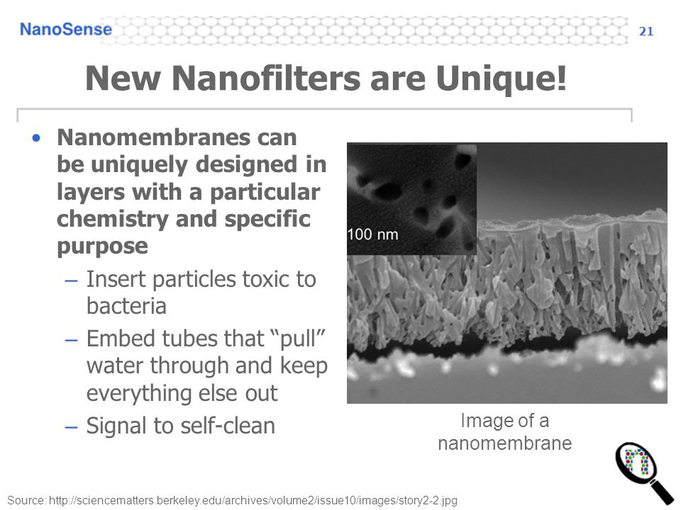 21 Source: http://sciencematters.berkeley.edu/archives/volume2/issue10/images/story2-2.jpg New Nanofilters are Unique! Nanomembranes can be uniquely d