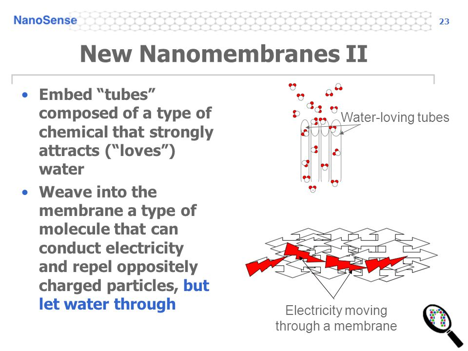 23 New Nanomembranes II Embed tubes composed of a type of chemical that strongly attracts (loves) water Weave into the membrane a type of molecule tha