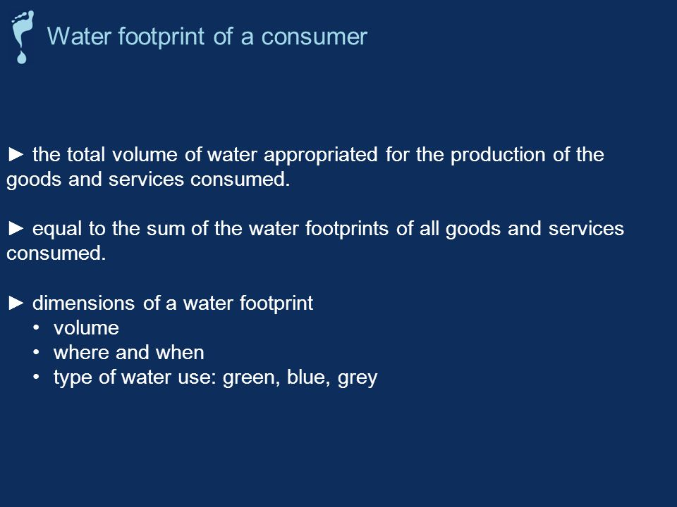 the total volume of water appropriated for the production of the goods and services consumed.