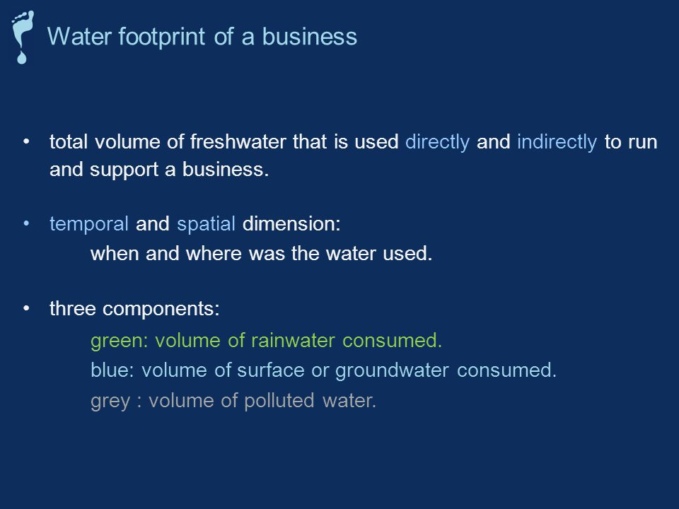 total volume of freshwater that is used directly and indirectly to run and support a business.