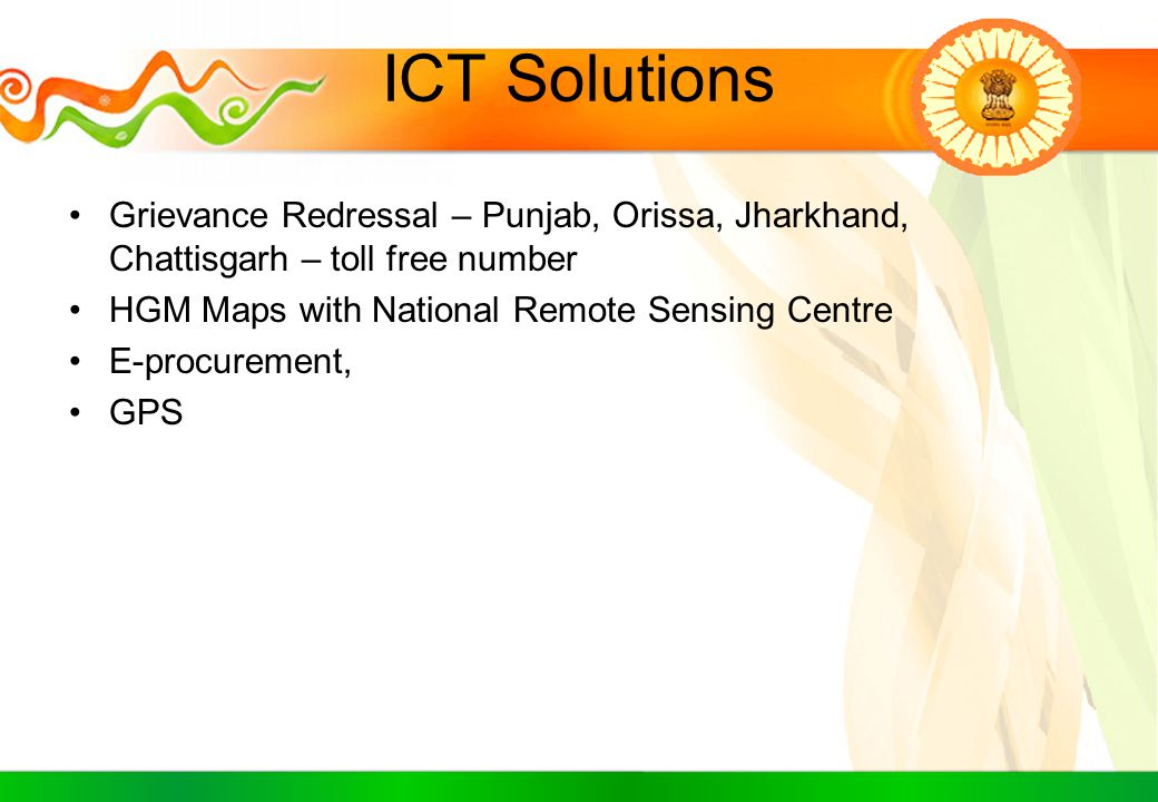 ICT Solutions Grievance Redressal – Punjab, Orissa, Jharkhand, Chattisgarh – toll free number HGM Maps with National Remote Sensing Centre E-procureme
