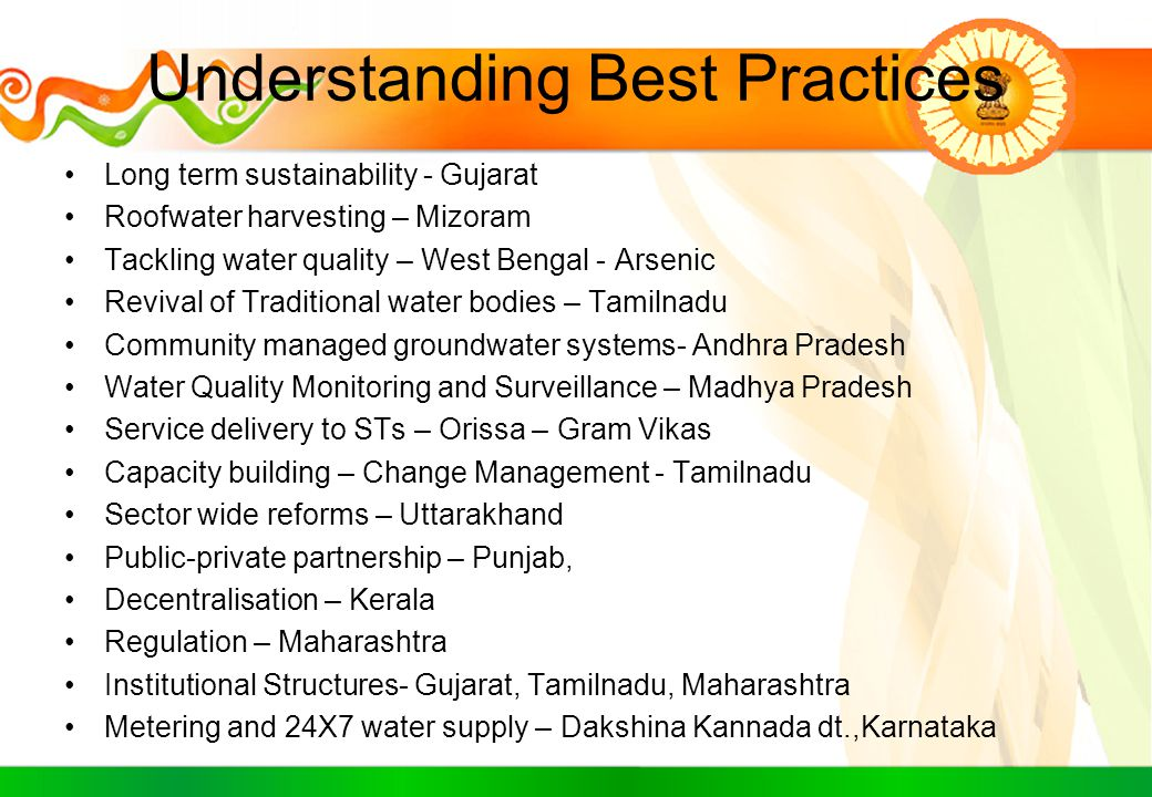 Understanding Best Practices Long term sustainability - Gujarat Roofwater harvesting – Mizoram Tackling water quality – West Bengal - Arsenic Revival
