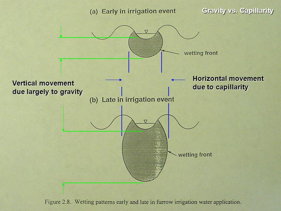 Horizontal movement due to capillarity Vertical movement due largely to gravity Gravity vs.