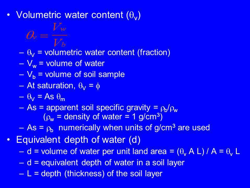 Volumetric water content ( v ) – V = volumetric water content (fraction) –V w = volume of water –V b = volume of soil sample –At saturation, V = – V = As m –As = apparent soil specific gravity = b / w ( w = density of water = 1 g/cm 3 ) –As = b numerically when units of g/cm 3 are used Equivalent depth of water (d) –d = volume of water per unit land area = ( v A L) / A = v L –d = equivalent depth of water in a soil layer –L = depth (thickness) of the soil layer