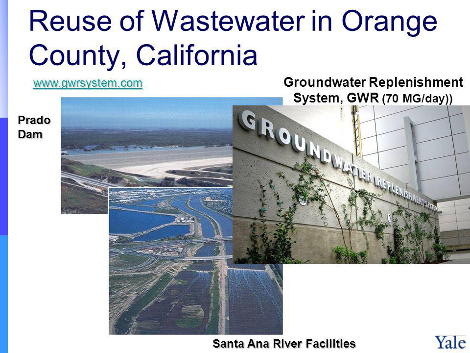 Reuse of Wastewater in Orange County, California Prado Dam Santa Ana River Facilities Groundwater Replenishment System, GWR (70 MG/day)) www.gwrsystem.com