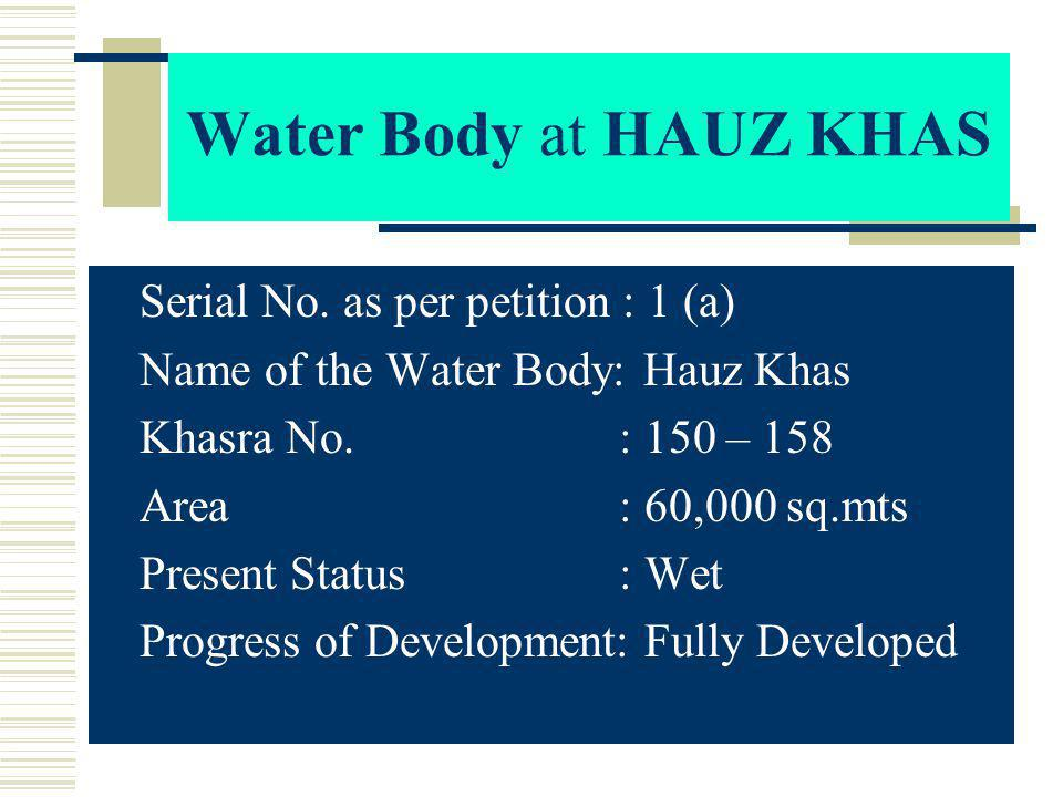 T he water body appeared at S.No.9(a) of the petition, named as water body at Masood Pur.