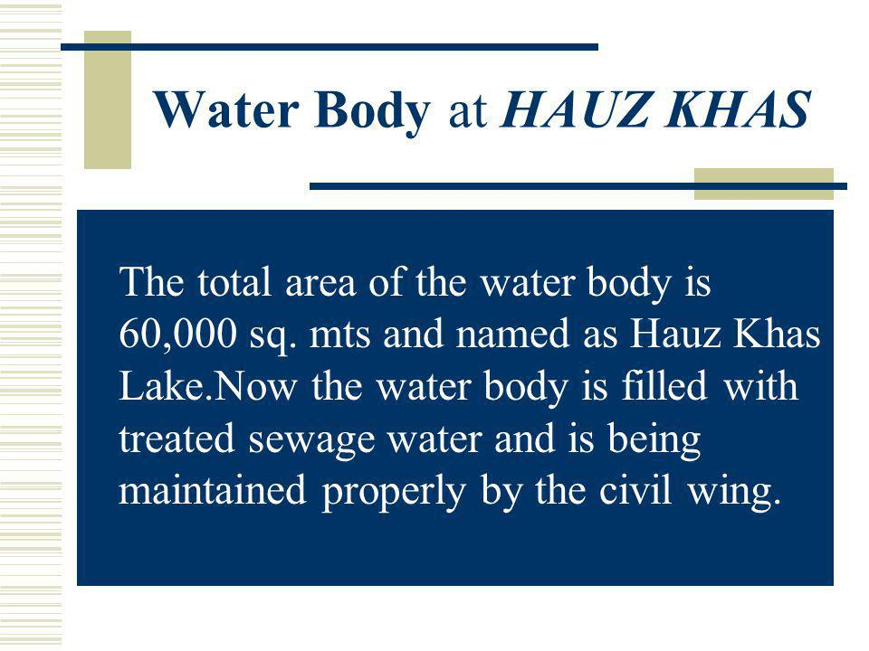 Water Body at HAUZ KHAS The total area of the water body is 60,000 sq.