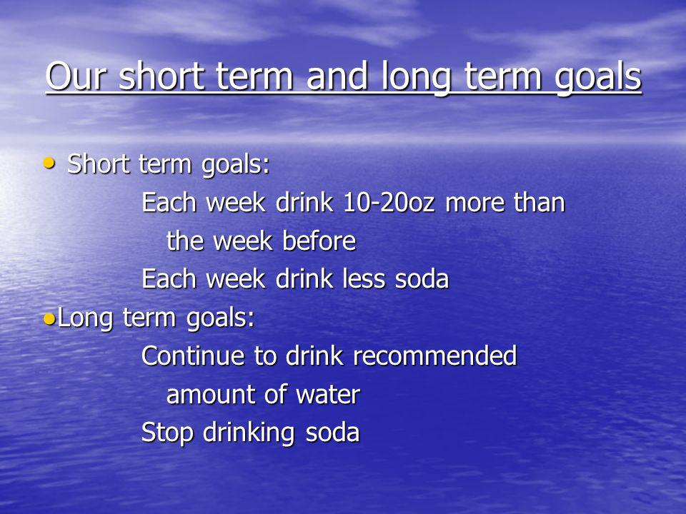 Our short term and long term goals Short term goals: Short term goals: Each week drink 10-20oz more than Each week drink 10-20oz more than the week before the week before Each week drink less soda Each week drink less soda Long term goals:Long term goals: Continue to drink recommended Continue to drink recommended amount of water amount of water Stop drinking soda Stop drinking soda
