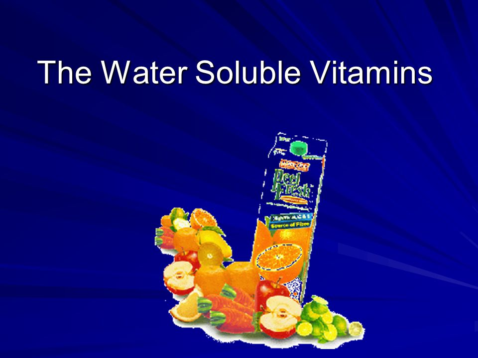 Overview of Water-Soluble Vitamins Dissolve in water Generally readily excreted Subject to cooking losses Function as a coenzyme Participate in energy metabolism 50-90% of B vitamins are absorbed Marginal deficiency more common