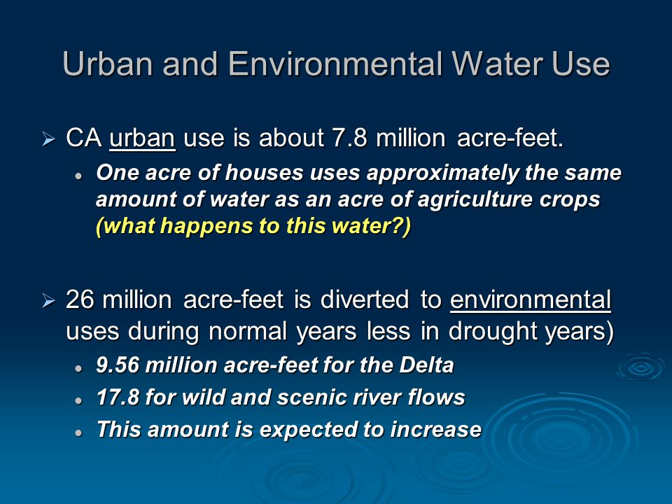 Urban and Environmental Water Use CA urban use is about 7.8 million acre-feet.