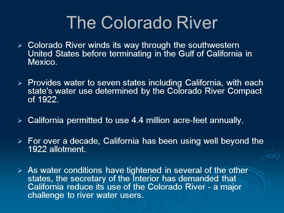 The Colorado River Colorado River winds its way through the southwestern United States before terminating in the Gulf of California in Mexico.